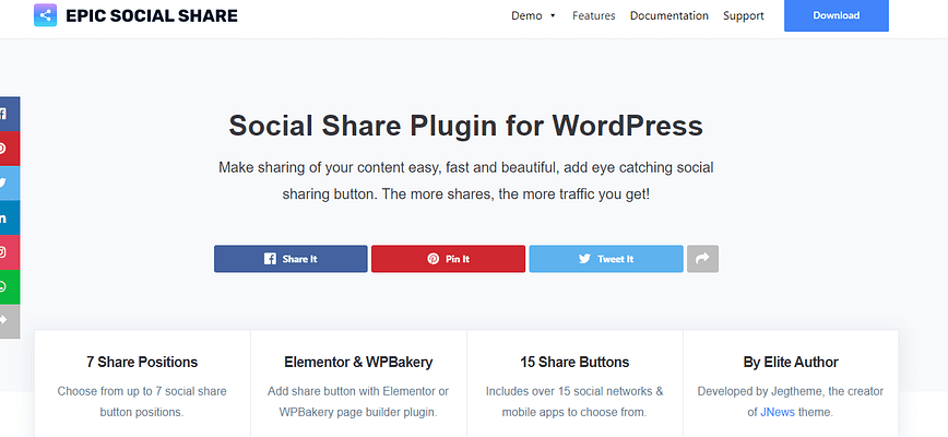epic social share plugin, best free and paid WP plugin