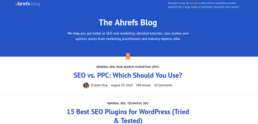 ahrefs marketing blog, top free and paid blog