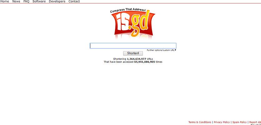 IS.GD website, URL Shortener Websites