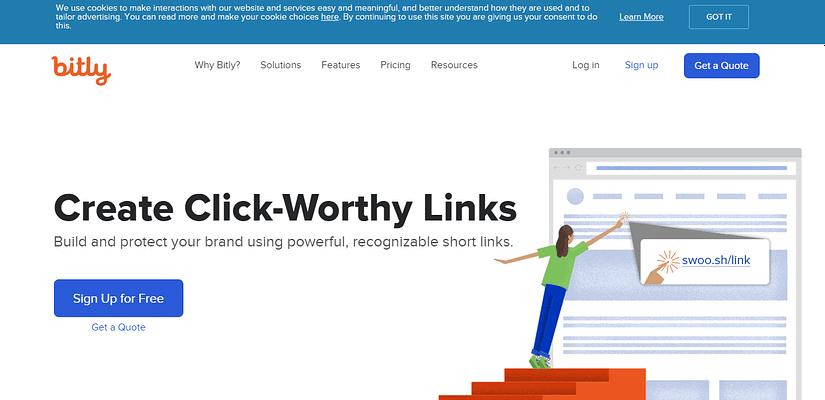 bitly.com website, URL Shortener Websites