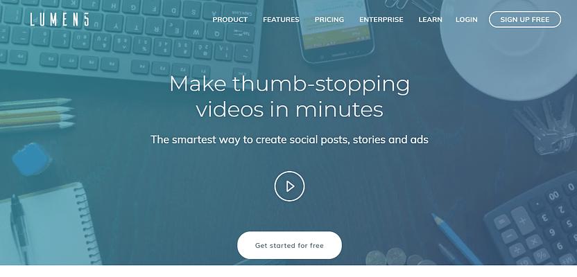 lumen5, AI tools for marketing